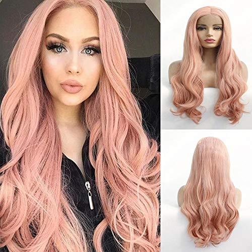 Rook roze pruik, front lace pruik, groot golvend lang krullend haar, 24 inch, natuurlijke realistische pruik, modieuze vrouwelijke pruik