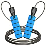 Letsfit Jump Rope, Tangle-Free with Ball Bearing Skipping Rope for Fitness Workout Aerobic Exercise, Adjustable Cable Length Speed Jumping with Foam Handles for Women Men