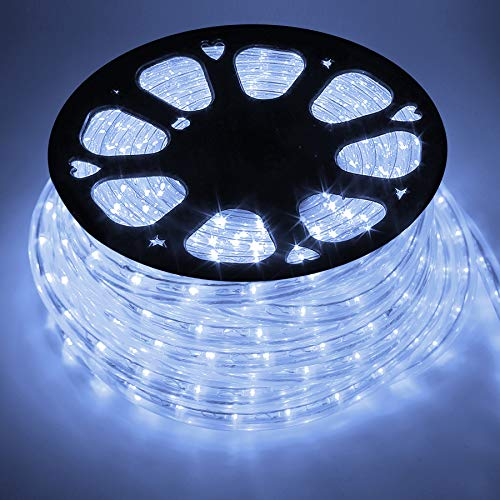 COCOMIA 50 Meter LED Lichterschlauch Außen, Wasserfest LED Schlauch für Auße, Dekoration und Beleuchtung LED Lichterschlauch für Halloween, Garten, Weihnachten, Hochzeit, Party, Kaltweiß