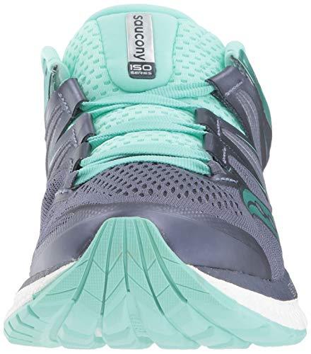 Saucony Women's Hurricane ISO 4 Sneaker, Grey/Aqua, 050 M US 35.5