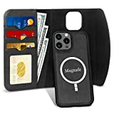 FYY Case Compatible with iPhone 12/12 Pro 5G 6.1', 2-in-1 Magnetic Detachable Wallet Case [Wireless Charging Support] with Card Slots Folio Case for iPhone 12/12 Pro 5G 6.1' Black