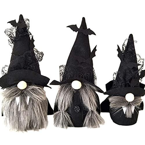 osmanthus Muñeco de gnomo sin Rostro de Halloween, decoración de Felpa, Sombrero de murciélago Negro, muñeco de Peluche, Decoraciones de Mesa de Halloween, Regalos para niños