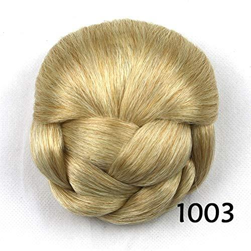 Bolsa pequeña peluca de pelo albóndiga Cabeza bolso de la novia del pelo de la horquilla de la cola de caballo Señora Puff trenza de alambre de alta temperatura pelucas sintéticas para mujeres pelucas