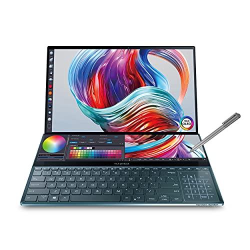 "ASUS ZenBook Pro Duo UX581 Laptop, 15.6"" 4K UHD NanoEdge Touch Display, Intel Core i7-10750H, 16GB RAM, 1TB PCIe SSD, GeForce RTX 2060, ScreenPad Plus, Windows 10 Pro, Celestial Blue, UX581LV-XS74T"