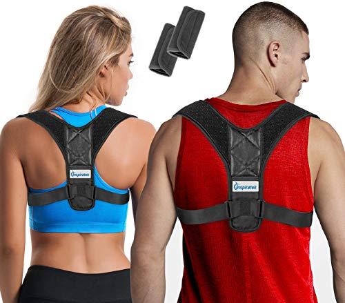 Posture Corrector for Women and Men + Underarm Pads, Adjustable Clavicle Brace Perfect for Shoulder Support, Upper Back Correction, Medical Kyphosis Trainer Under Clothes by Inspiratek