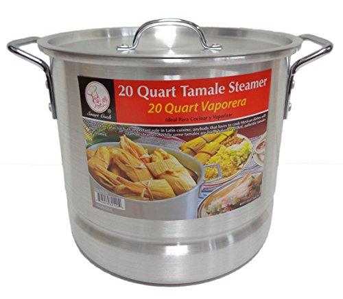 20 Qt Tamale Steamer Vaporera Stock Pot Premium Aluminum Tamalera 5 Gallons by Smart Cook