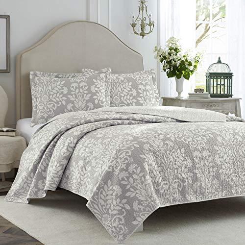 Laura Ashley Home   Rowland Collection   Luxuriöse, ultraweiche Steppdecke, bequemes 3-teiliges Bettwäsche-Set für alle Jahreszeiten   Stilvolle Tagesdecke, Full/Queen, Grau