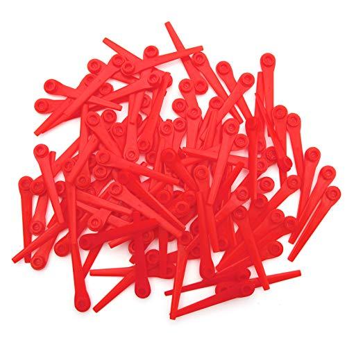 SurePromise Ersatzklingen für Rasenmäher, Kunststoff, 70 mm lang, Rot, 100 Stück