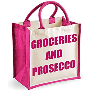 60 Second Makeover Limited Medium Jute Bag Groceries And Prosecco Pink Bag Mothers Day New Mum Birthday