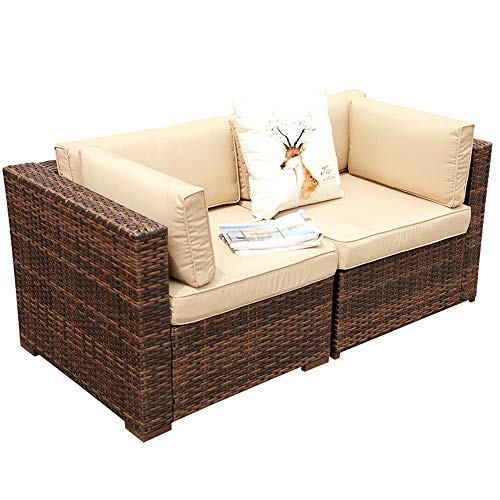 Super Patio 2 Piece Outdoor Furniture All Weather Wicker Corner Sofas Love Seat with Thick Beige Cushions, Steel Frame, Brown