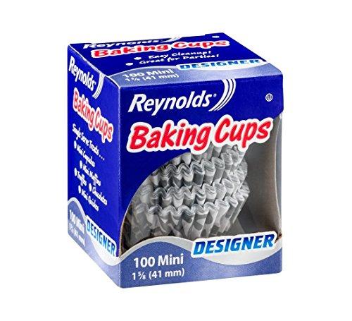 Reynolds Mini Disposable Baking Cups - Designer Gray & White (Pack of 100)