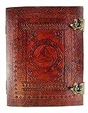 Kooly Zen Notizblock, Tagebuch, Buch, echtes Leder, Vintage, Wikinger-Horn, 2 Verschlüsse, 25 cm x 33 cm, 240 Seiten, Premiumpapier