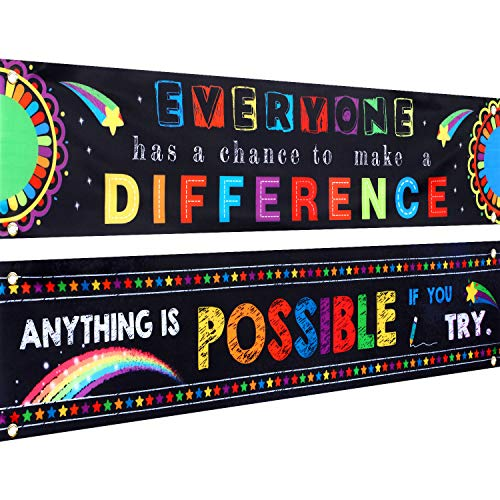 2 Pieces Motivational Classroom Hanging Banner Posters 2020 Inspirational Classroom Banner Background Photo Booth Prop Banners for Classroom Decoration