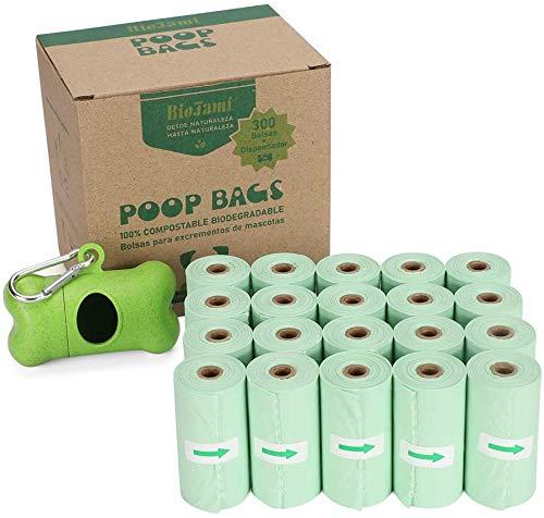 Bolsas Caca Perro 100% Biodegradable, Bolsas Excrementos Perro Compostables (BIO, Bolsa 23 x 32 cm, 20 Rollos, 300 Bolsas + Dispensador)