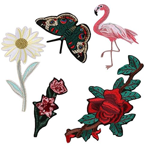 ABBY Tissu de Broderie Fine Coller des Fleurs et des Oiseaux Papillon Patch Accessoires du Vêtement Pantalon