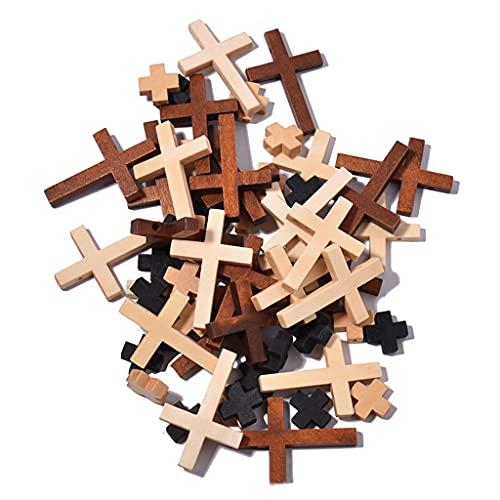 WOWOWO 50g Colgantes Cruzados de Madera Mixta Mini encantos Cruzados de Madera Cuentas Cruzadas religiosas DIY