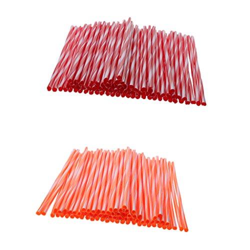 MagiDeal 150 x Rayon Couvre Spokes Wrap Skins Cover de Roue Décoration Protection Roue Jante Accessoire pour Motocross Motos VTT Dirtbike - Rouge et Orange