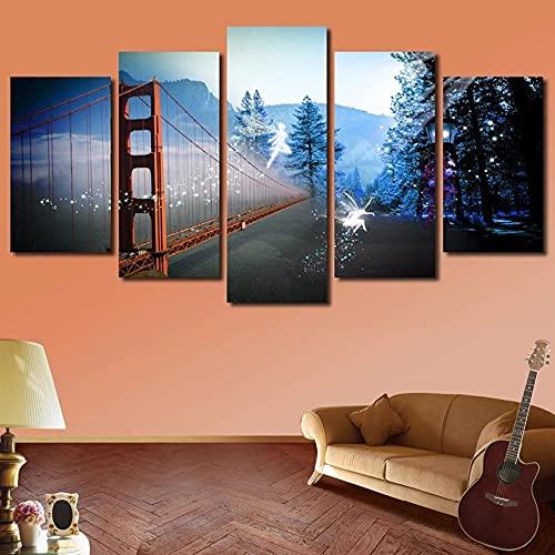 HGFDS Cuadros Paneles Lienzo murales Impresión 5 Piezas Material TejidonoTejido Puente de la montaña Nevada Impresión Artística Imagen GráficaDecoracion ParedWall StickerPaintings