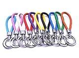 Art&Beauty Schlüsselanhänger, geflochten, Leder, verschiedene Farben, 10 Stück