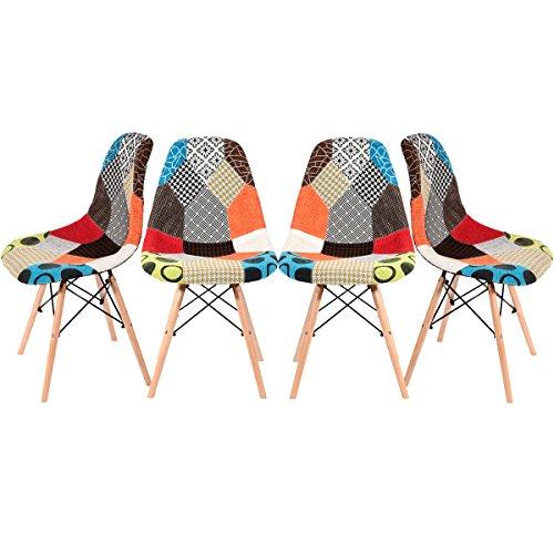 Panana, 4 sedie in legno con schienale, rivestite in tessuto patchwork ideali per casa e ufficio