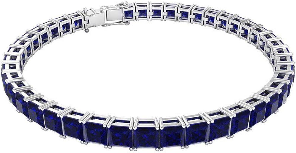 Rosec jewels,braccialetto da tennis in oro zaffiro blu certificato sgl 19,35 ct e con pietre preziose RCBR032013864