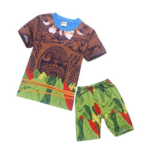 Moana Maui - Pijama suelto con dibujos animados para niños pequeños Azul Azul - Manga Corta 6-7 Years