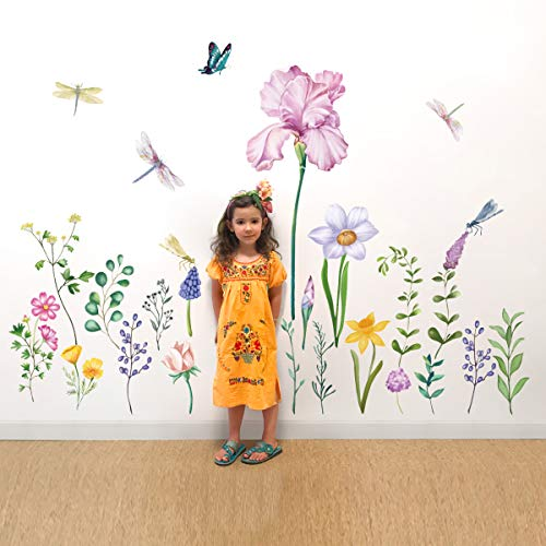 decalmile Pegatinas de Pared Jardín Flor Vinilos Decorativos Narciso Iris Floral Libélula Adhesivos Pared Dormitorio Salón Televisión Pared Hogar Decoración