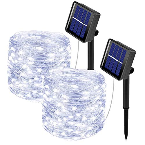 [2 Pack]Outdoor Solar Garden Lights, Ooklee Solar Fairy String Lights, 10M 100LED 8 Modes, Waterproof Silver Copper Wire Lights for Patio Christmas Outside Gazebo Festival Fence Decoration(Cool White)