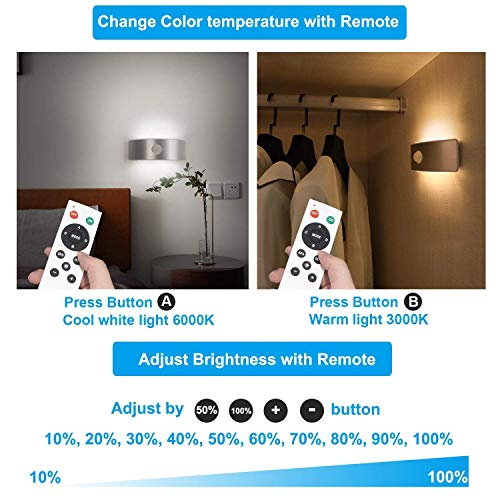 Motion Sensor LED Wall Lights Sconces Lamps, Wireless Closet Light Battery Powered Night Light Rechargeable Indoor Safe Light for Bedroom Stairs Kitchen Cabinet Remote Control Warm & Cool White 2-in-1