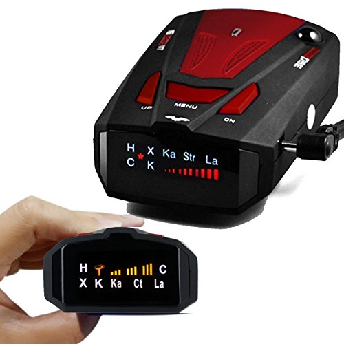 Radar Detector, High Performance V7 Police Radar Laser Detectors for Cars with Voice Alert and Car Speed Alarm System with 360 Degree Detection (Red)