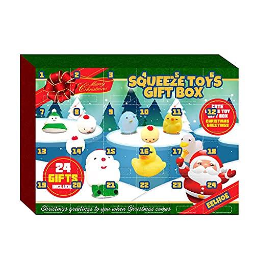 FUNCOCO Bambola da appendere, 24 pezzi di Natale Squeeze Giocattoli Divertenti Avvento Conto Alla Rovescia Calendario Cartone Anim