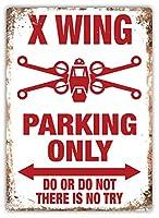 X Wing Parking Only Yoda Jedi 注意看板メタル安全標識注意マー表示パネル金属板のブリキ看板情報サイントイレ公共場所駐車