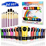 RATEL Peinture Acrylique, 26 Kit de Peinture Acrylique pour Artistes Comprenant 16 x 75 ML de Pigment Acrylique + 10 pinceaux- Vibrant Couleurs, pour Papier, Roche, Bois, céramique, Tissu