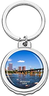 Hqiyaols Keychain USA America Virginia Museum of Fine Arts Richmond Bottle Opener Creative Crystal Stainless Steel Cap Key Chain Travel Souvenirs Gifts Metal