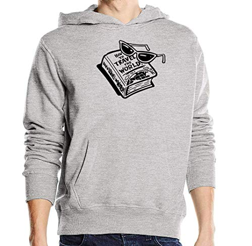 Atprints How to Travel The World Knowledge Book Grigio Unisex Pullover Hoodie M