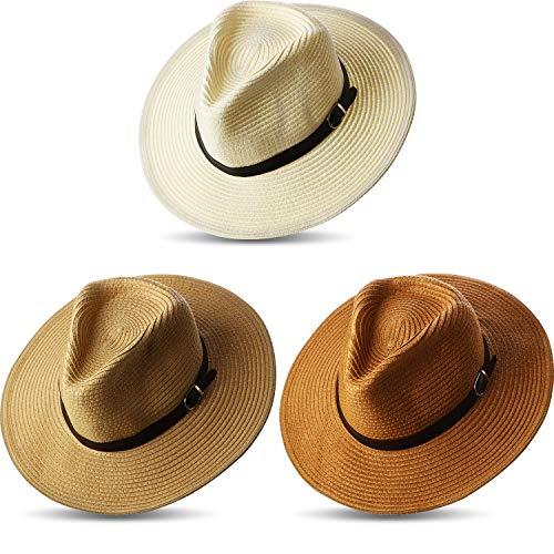 pequeño y compacto Sombrero de paja de ala ancha de 3 piezas para mujer Panamá Sombrero de paja de ala ancha …