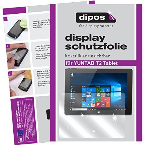 dipos I 2x Protector de Pantalla compatible con YUNTAB T2 Tablet pelicula Protectora Claro