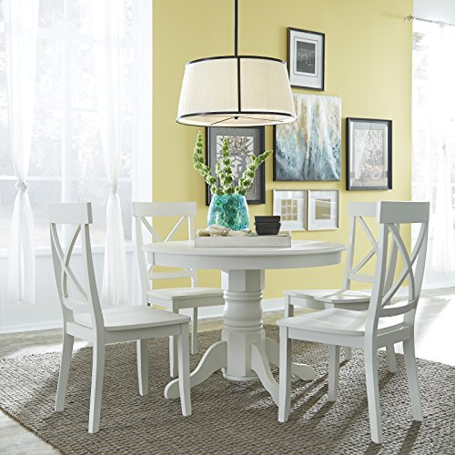 """Classic White 5 Piece 42"""" Round Dining Set by Home Styles"""
