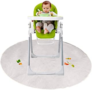 Loodial Floor Mat for Baby, Plastic Play Mat, Waterproof High Chair Floor Protector, Splat Mat, Mullti-Purpose Playmat for Playing,Feeding and Painting, Clear, Round,Non Slip,Transparent,Thicken