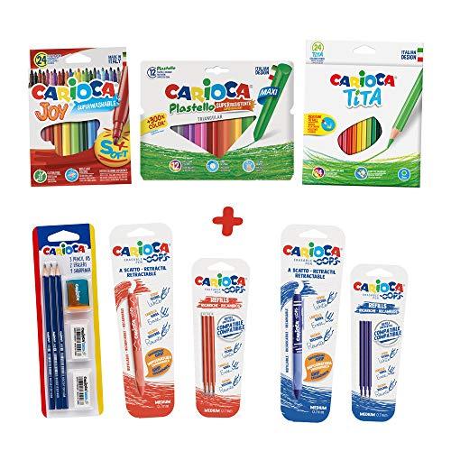 CARIOCA SET SCUOLA PRIMARIA - Kit per la Scuola: Pennarelli, Matite Colorate e a Grafite, Penne OOPS, Gomme e Temperino, 62 Pezzi (53215)