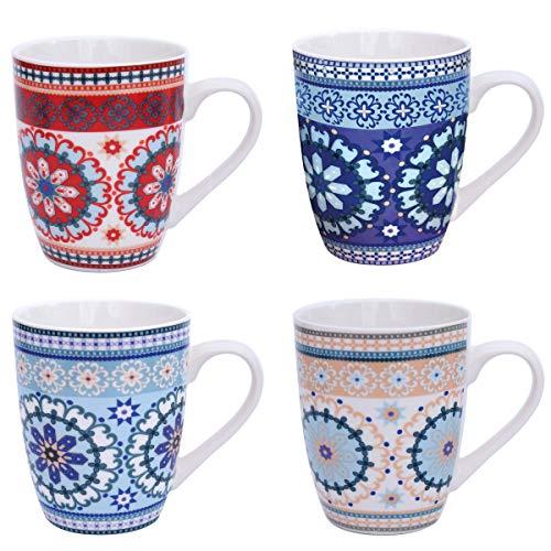 Flanacom Boho Kaffeetasse 4-er Set - Große Kaffee-Becher 300-ml im orientalischen Design - hochwertige Tee-Tassen mit feinem Druck - Spülmaschinenfeste Keramik - Geschenk für Frauen Mutter (Design 3)