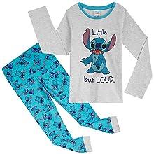 Disney Pijama Niña de Stitch, Pijamas Niñas Invierno, Regalos para Niñas y Adolescentes 18 Meses-14 Años (Gris/Azul, 9-10 años)