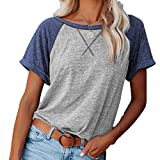 CuteRose Womens Pure Color Short Sleeve Cross Relaxed-Fit Color Conjoin O-Neck T-Shirt 9 XS