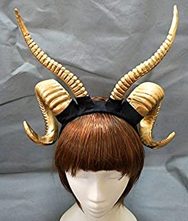 Qhome Gothic Antelope Sheep Horn Hoop Headband Forest Animal Photography Original Manual Aries Exhibition Cosplay Photo Props Deluxe Costume Horns (Gold)