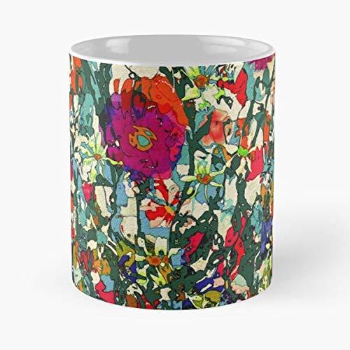 Tuin Natalie Geel Bloeiend Blauw Madeliefjes Holland Miniatuur Bloemen Sjaals Rode Rozen Klaprozen Beste Mok Houdt Hand 11 oz Gemaakt van wit marmer Keramiek