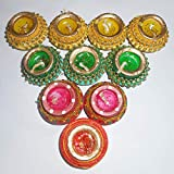 Sky Trends Diwali Gift Set, Best Diwali Gift for Home Decorative Handmade Diyas Green, Yellow, Red, Blue(Diya Color Will Be Change According to Stock- 12 Diya Set