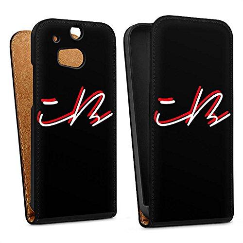 DeinDesign Tasche kompatibel mit HTC One M8 Flip Hülle Hülle Schwarz iBlali YouTube Logo