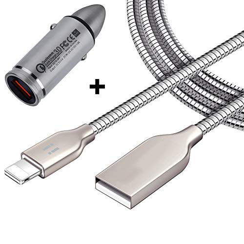 [i!®] KFZ Auto Schnellladegerät + 1m USB Ladekabel Datenkabel Ladeset für iPhone 11 Pro Max XS Max XR X 10 8 Plus 7 Plus 6S Plus 6 Plus 5S 5C 5 SE iPad iPod - Silber