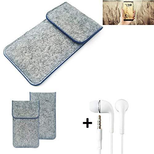 K-S-Trade Filz Schutz Hülle Für Allview X4 Soul Infinity N Schutzhülle Filztasche Pouch Tasche Handyhülle Filzhülle Hellgrau, Blauer Rand + Kopfhörer