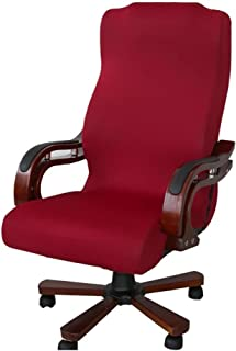 Deisy Dee Slipcovers Cloth Universal Computer Office Rotating Stretch Polyester Desk Chair Cover C064 (red)